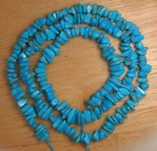 "Sleeping Beauty Turquoise Loose 4mm x 7mm Chip Beads Blue Color 18"" Strand # 999"