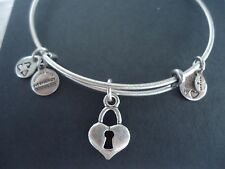 Alex and Ani KEY TO MY HEART Russian Silver Charm Bangle NEW W/ TAG CARD and BOX