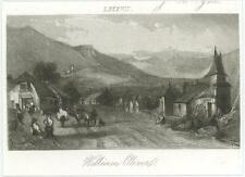 ANTIQUE PRIMITIVE NAIVE HOUSE HORSE MOUNTAIN COTTAGE TINY MINIATURE OLD PRINT