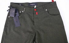 NWT New * KITON * $1500 Green Flannel Wool-Cashmere Straight Fit Jean Pants 32