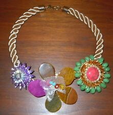 CELESTE MICHELLE Anthropologie LARGE Lucite Rhinestone Bead Floral Necklace