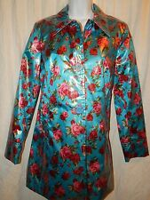 Betsey Johnson M Rain Jacket Coat Blue Pink Rose Floral EUC Betsy Women's MS57
