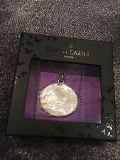 Simon Carter Oval Engraved Mother Of Pearl Pendant Sterling Silver Chain