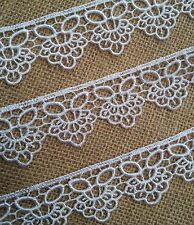 30mm White Quality Guipure Lace Trim. Wedding. Bridal, Craft. Quilt, Christening