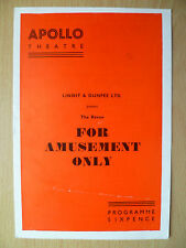 Apollo Theatre Programme 1956- THE REVUE FOR AMUSEMENT ONLY by Peter Myers