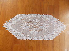 HERITAGE LACE WHITE TEA ROSE TABLE RUNNER NWOT 14X36 ITEM 6084