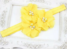1Pcs Baby Yellow Chiffon Pearl Rhinestone Flower Headwear Headbands Hair Bows