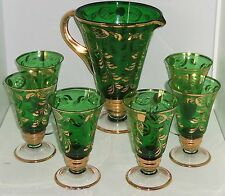 Bohemian Emerald Green Gold Pitcher 6 Glasses Tea Cocktail Vintage Mid Century
