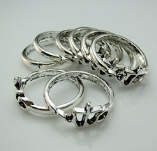 Wholesale Lots 10pcs Tibetan silver Filled Charm Couple Ring Pendants Findings