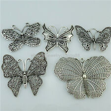 5PCS MIX Antique Vintage Silver Alloy Insect Butterfly Pendant Jewelry Making