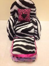 ZEBRA PRINT FUR CHAIR With Ottoman For Monster High, Barbie Or Bratz Dolls