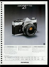Factory 1978 Olympus Zuiko 21mm F3.5 Camera Lens Dealer Data Sheet Page