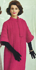 Vintage Knitting PATTERN to make Knit Coat Cable Stripes Flare Sleeves CableCoat