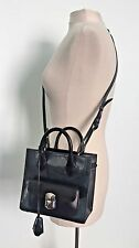 BALENCIAGA Gray Patent Leather Padlock Mini All Afternoon Crossbody Tote