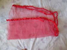 1 TIER RED OVAL WEDDING VEIL with LACE EDGE