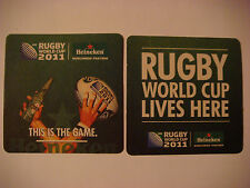 Beer Sports Coaster ~ HEINEKEN Brewing    2011 Worldwide Partner Rugby World Cup