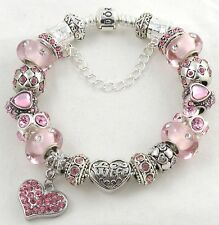 Authentic PANDORA Bracelet with WIFE Pink themed European Charms & Murano Beads