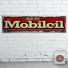 1700 X 430mm MOBIL OIL vintage Banner heavy duty,  workshop, garage, mancave