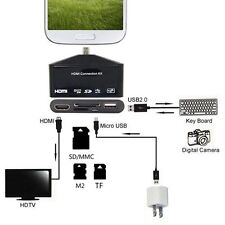 HDTV MHL HDMI adapter with USB OTG Card reader for Galaxy Note 2 S3 S4 NOTE 3