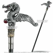 "35"" Fierce Dragon Handle Steel Shaft Fantasy Walking Stick Gentleman's Cane"