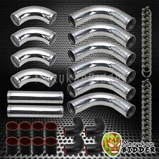 "Universal DIY Aluminum 12pc 2.5"" Pipes Turbo Intercooler Piping Kit Chrome/Black"