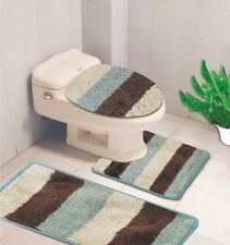 3 PIECE BATHROOM CONTOUR RUG AND TOILET LID COVER MAT SET, DENISE STRIPED