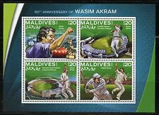 MALDIVES 2016 50th ANNNIVERSARY OF WASIM AKRAM CRICKET  SHEET MINT NH