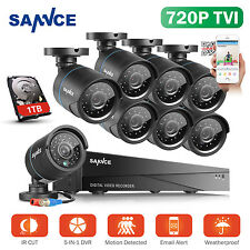 SANNCE 8CH 5in1 Audio 1TB 1080N DVR 1500TVL Security Cameras System Smart Search