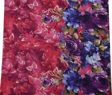Cotton Cambric Fabric Pink Floral Printed Quilting Dress Curtain Pillow By 1Yd