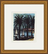 "Bernard BUFFET 1967 Color Lithograph ""Sailing the Cannes"" GALLERY FRAMED COA"