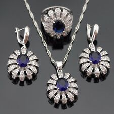 New Blue Sapphire White Topaz 925 Silver Jewelry Sets Necklace Earrings Ring 8