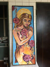 Vintage 1970s Psychedelic Nude Blonde with Chains and Chrysanthemums Painting