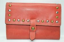Patricia Nash Colli Flap Studded Distressed Leather Organizer Wallet Clutch Red