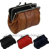 NEW Soft Leather Ladies Clasp Coin Purse by OakRidge 4 Colours 2 Sections Handy