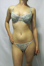 NEW w/tags Sweet Undy's Light Blue w/Embroidered Design Bra &Thong Set 34A - M