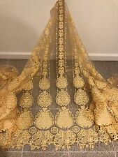 "GOLD MESH W/GOLD BORDER EMBROIDERY RHINESTONE LACE FABRIC 52"" WIDE 1 YARD"