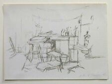 Etching of Studio with Bottles by Alberto Giacometti, 1957