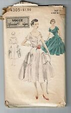 Vogue # 4305 Vintage 1952 Special Design Dress Pattern Sz 14 used