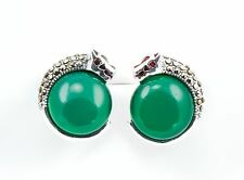 Sterling Silver Marcasite Vintage Leopard Stud Earrings With Green Onyx stones