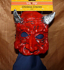 Chinless Crazies mask - red devil w/ gray horns - adult one size - HALLOWEEN NWT