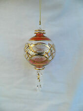 "Egyptian Hand Blown Fancy Etched Gold Glass Christmas Ball Ornament Gift 6"" #623"