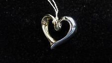 14k Solid Yellow & White Gold Polished  Heart Pendant Jewelry  2g