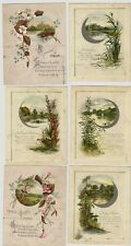 Lot of 6 - 1890s Single Sheet Christmas Cards