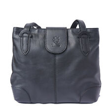 Shoulder Bag Italian Genuine Leather Hand made in Italy Florence B015 bk