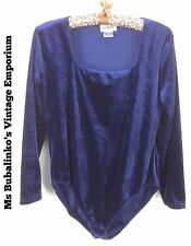 Vintage 90s Navy Blue Velour Velvet Bodysuit Leotard Top Size 16 18