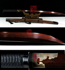45' RED DAMASCUS FOLDED STEEL CLAY TEMPERED RED ROSEWOOD FUCHI CHINESE SWORD