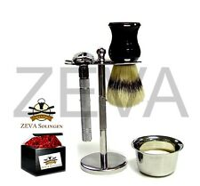 ZEVA 5 Pieces DE Safety Razor Shaving Gift Set / Kit in Box Silver