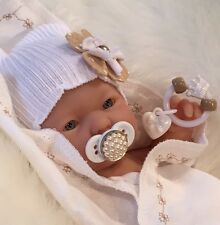 "WhiTe 9-10"" Girl DOLL CLOTHES~PaCiFieR~ToY~FOR Micro Preemie Reborn's~Berenguer"