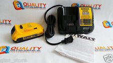 New One (1) DeWalt DCB203 20V Max XR Li-Ion Battery 2.0Ah & One Charger DCB112