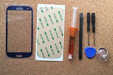 Samsung Galaxy S3 Blue Front Glass Lens screen Replacement Kit+UV Lcd Glue